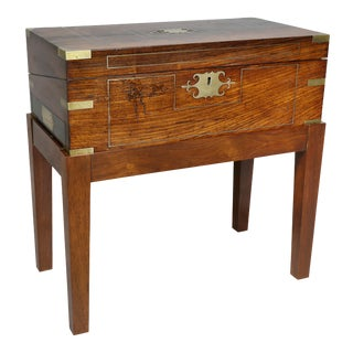 Regency Rosewood and Brass Inlaid Lapdesk on Stand For Sale