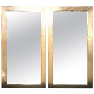 Pair of Mid-Century Modern Style White Brass Wall/ Floor or Console Mirrors For Sale