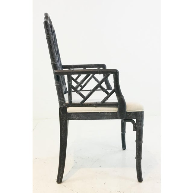 2010s Worlds Away Modern Chippendale Style Gray Arm Chair For Sale - Image 5 of 7