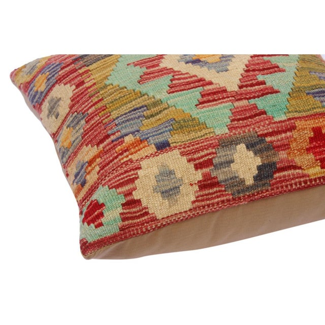 """Cheryll Rust/Ivory Hand-Woven Kilim Throw Pillow(18""""x18"""") For Sale - Image 4 of 6"""