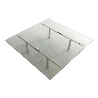1980s Saporiti PostModern Etched Glass Top Coffee Table on Painted Metal Legs For Sale