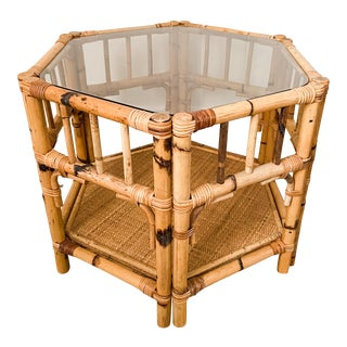 Vintage 1970's Burnt Bamboo Hexagonal Side Table For Sale