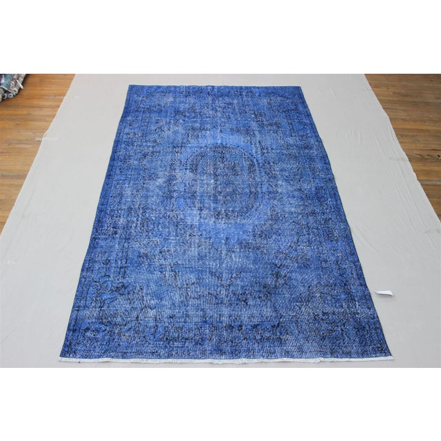 Dark Blue Turkish Over-Dyed Rug - 6′1″ × 10′4″ - Image 2 of 9