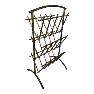 French Maitland Smith Style Bamboo Magazine Rack