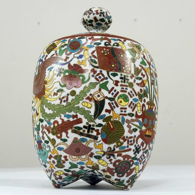 Asian Rare Chinese Cloisionne Vase For Sale - Image 3 of 7