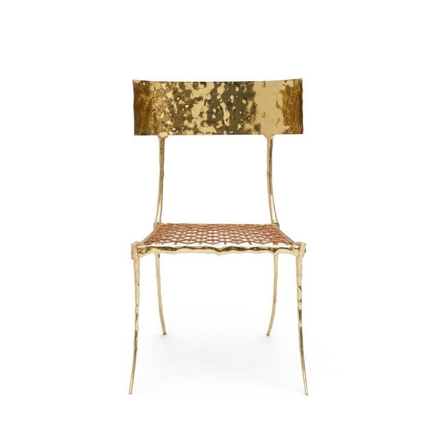 Brass Aqua Brass Klismos Chair by Sylvan Sf For Sale - Image 8 of 9