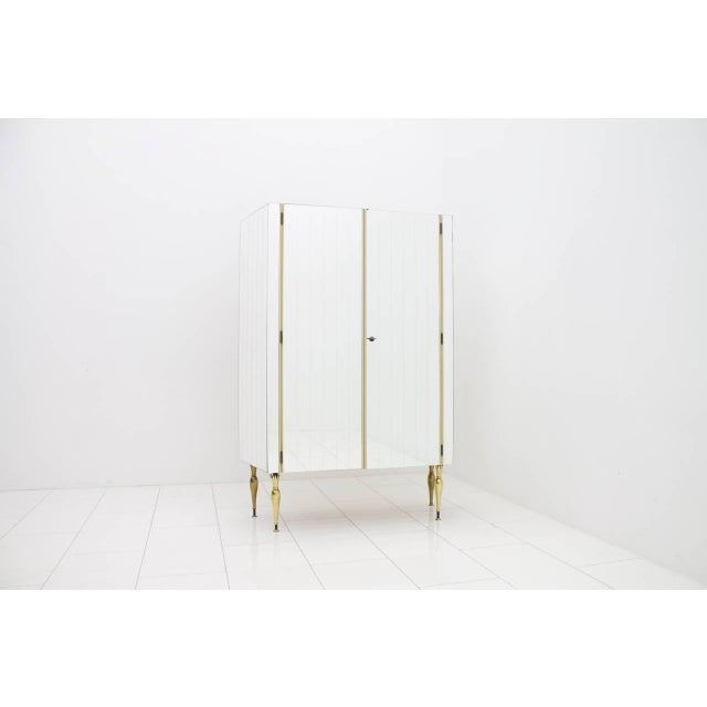 Metal Fully Front Mirrored Asymmetric Wardrobe With Brass Legs, Germany 1960s For Sale - Image 7 of 8
