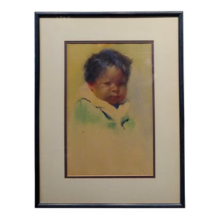 1916 Taos Painting, Portrait of a Pueblo Boy by Gerald Cassidy For Sale