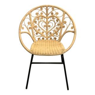 Metal Base Rattan Chair For Sale