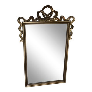 Louis XVI Style Gold Bow Top Mirror by Carolina Mirror Company For Sale