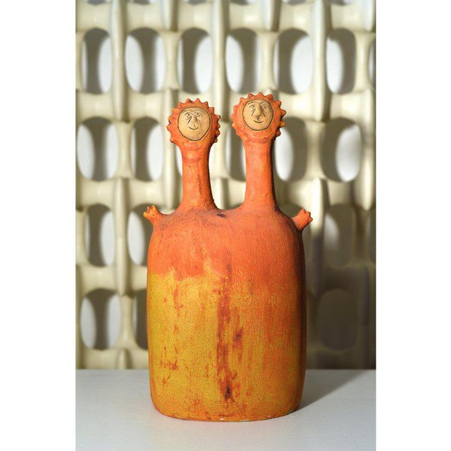 1990s Stan Bitters 'Sun People' Earthenware Sculpture, Signed, Large Example For Sale - Image 5 of 12