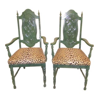 Green Armed With Leopard Print Upholstery Side Chairs - a Pair