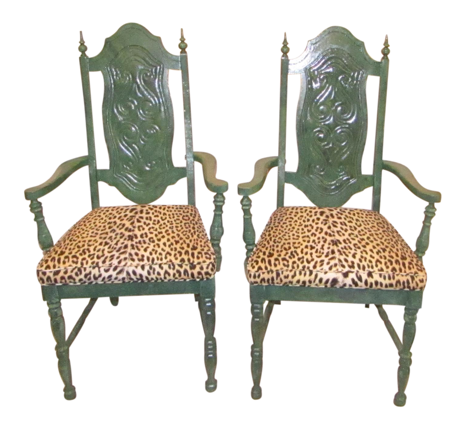 Green Armed With Leopard Print Upholstery Side Chairs   A Pair