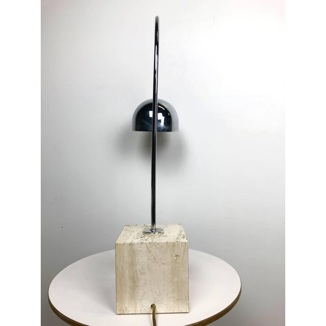 Harvey Guzzini Travertine Marble and Chrome Table Lamp by Harvey Guzzini For Sale - Image 4 of 6