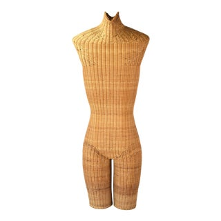 Vintage Woven Wicker Mannequin Unisex Figure Torso and Legs For Sale