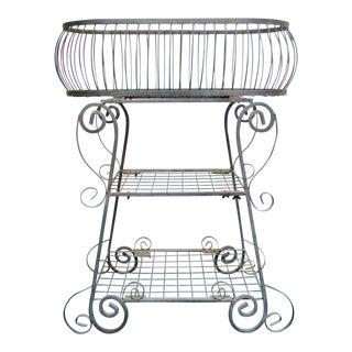 Boho Chic Ornate Iron Plant Display Stand Storage Rack For Sale
