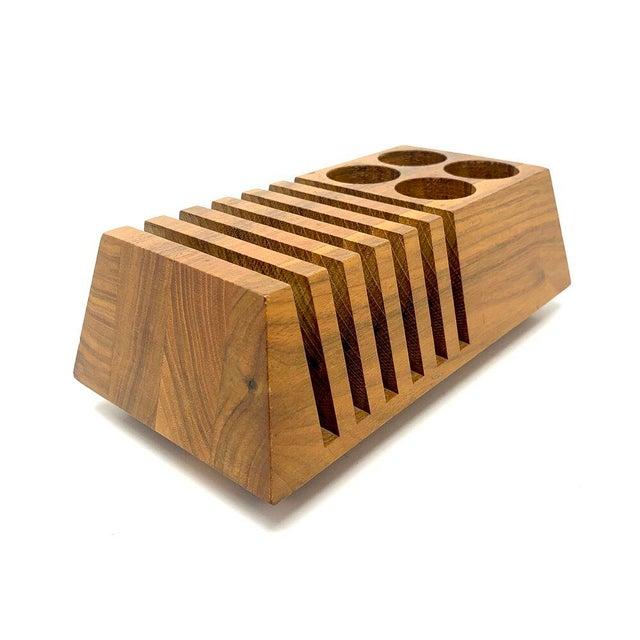 Wood Mid-Century Modern Geometric Wooden Desk Organizer For Sale - Image 7 of 13
