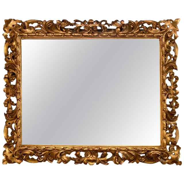 Gilt Gesso Decorated Carved Wall / Console Mirror, Italian For Sale