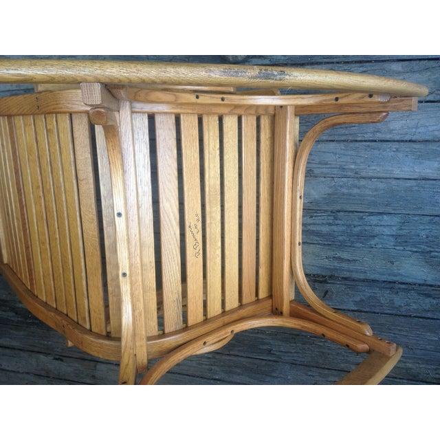 1990s Vintage R. Benna Bent Oak Slat Back Rocking Chair For Sale In Washington DC - Image 6 of 13