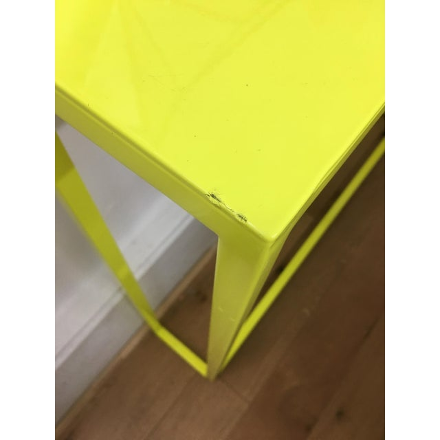 Metal Contemporary Fluorescent Yellow Powder-Coated Metal Console Table For Sale - Image 7 of 8