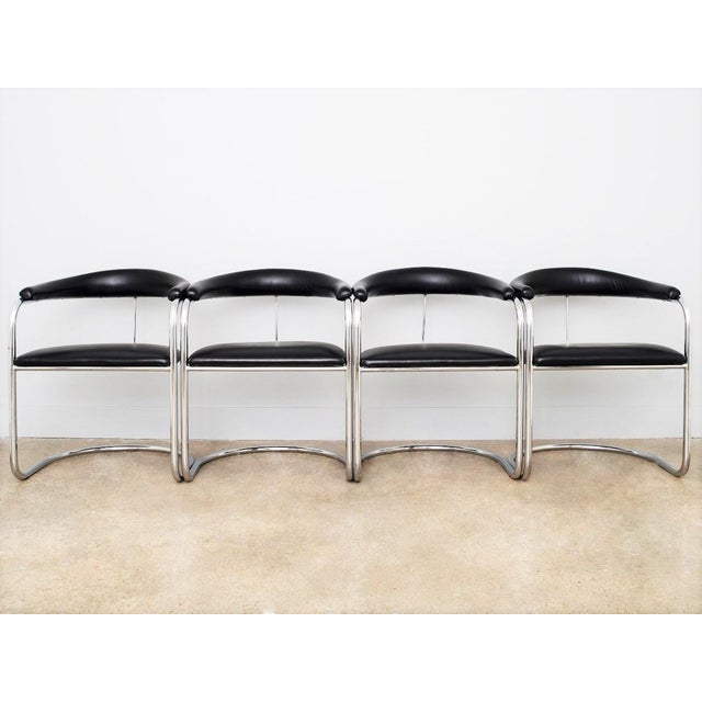 1970s Set of Four Black Anton Lorenz for Thonet Chrome Chairs For Sale - Image 5 of 6