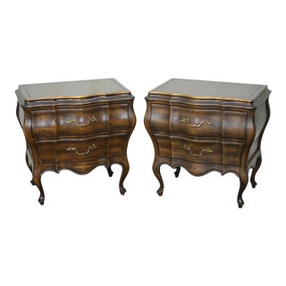 Union National French Provincial Bombe Nightstands - A Pair