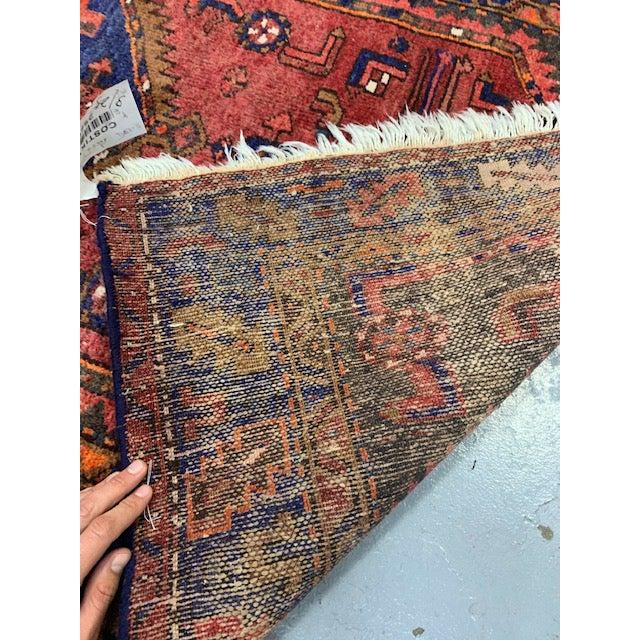 Persian Vintage Orange, Red, Blue Hamadan Wool Rug For Sale - Image 3 of 4