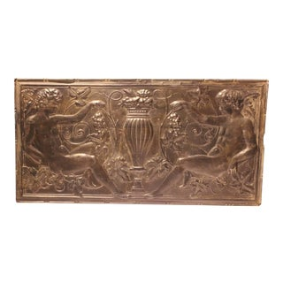Antique Decorative Figural Tin Wall Panel For Sale
