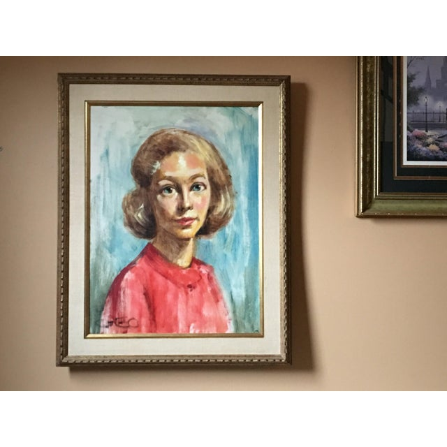 1950s Mid Century Modern Female Portrait Painting Vintage For Sale - Image 11 of 11