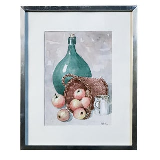 Framed Watercolor by Pol Antonis, Ca. Mid-Century For Sale