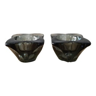 Mid Century Smoke Glass Candle Holders, a Pair For Sale