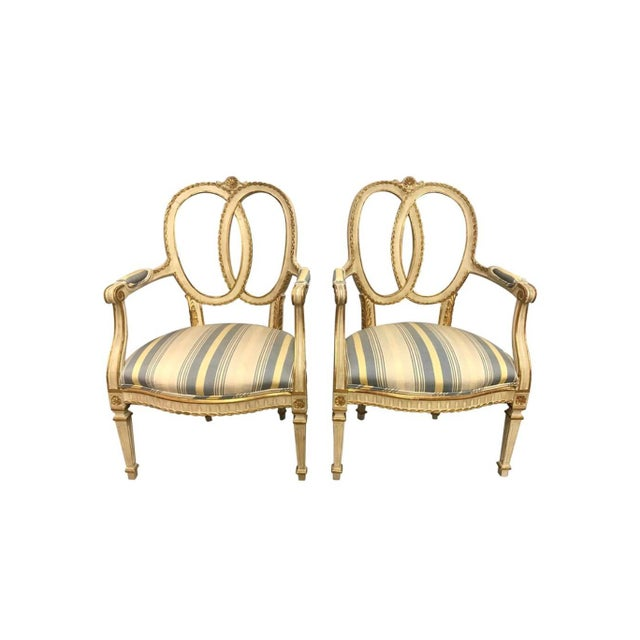 Pair of Antique French Cream Painted Giltwood Armchairs For Sale - Image 13 of 13