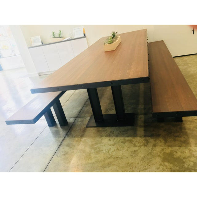 Industrial Modern Wood Table & Benches For Sale - Image 3 of 13