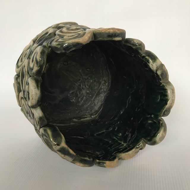 Green Glazed Swirl Pottery Cachepot For Sale In Charlotte - Image 6 of 8