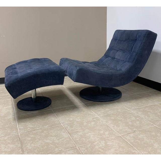 Italian Post Modern Italian Leather Roche Bobois Swivel Lounge Chair and Ottoman For Sale - Image 3 of 12
