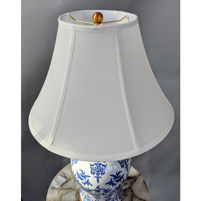 Blue and White Ceramic Lamp For Sale - Image 11 of 13