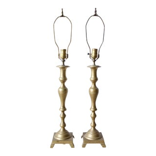 Mid-Century Brass Candlestick Lamps - a Pair For Sale