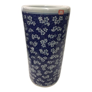 Vintage Blue and White Floral Umbrella Stand For Sale
