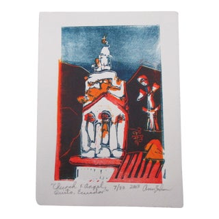 Vintage Lithograph Titled: Church and Angels Signed Ann Zahn For Sale
