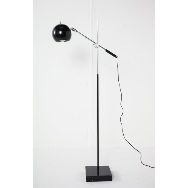Mid-Century Chrome and Black Adjustable Floor Lamp For Sale - Image 9 of 12