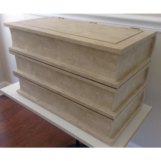 Brass Maitland Smith Tessellated Stacked Book Chest For Sale - Image 7 of 11