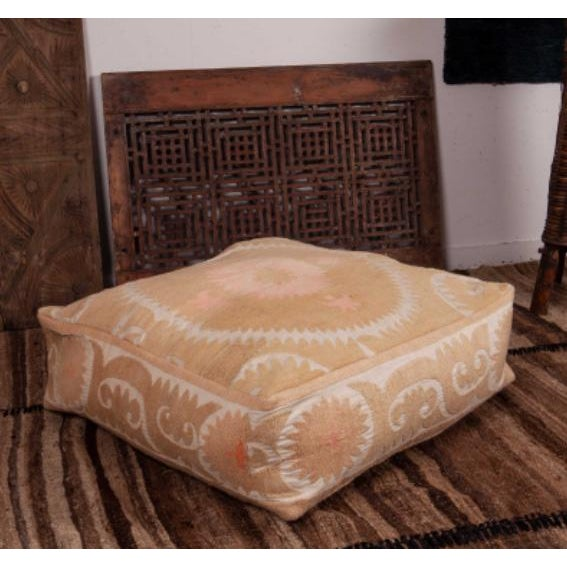 Mid 20th Century Mid Century Embroidered Suzani Floor Cushion For Sale - Image 5 of 6
