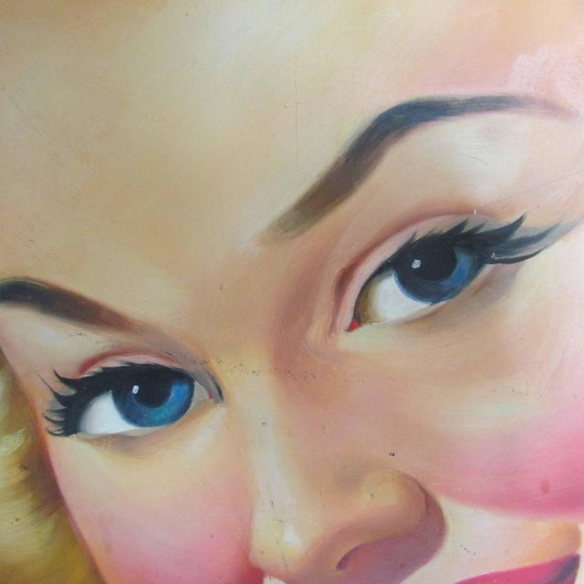 American '1940s Girl Next Door' Oil Painting For Sale - Image 3 of 7