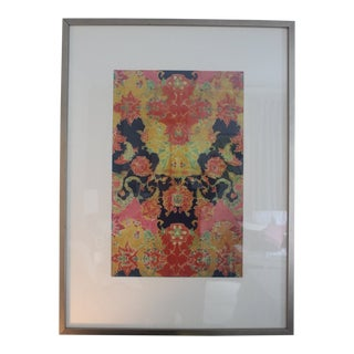 Vintage Orange and Pink Remand Print by Sochier and Marian For Sale