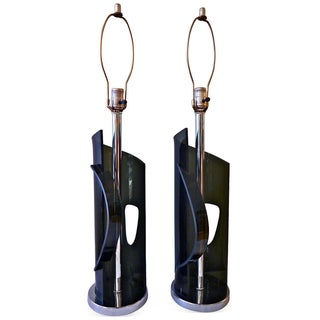 Sculptural Lucite & Chrome Laurel Lamps - A Pair For Sale