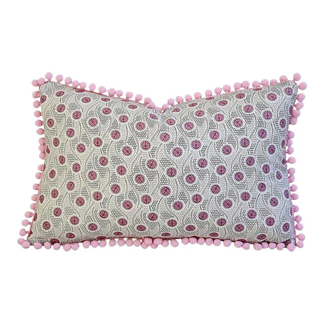 "18"" X 12"" Custom Tailored Pink Medallion Feather/Down Pillow W/ Pom-Pom Trim For Sale"