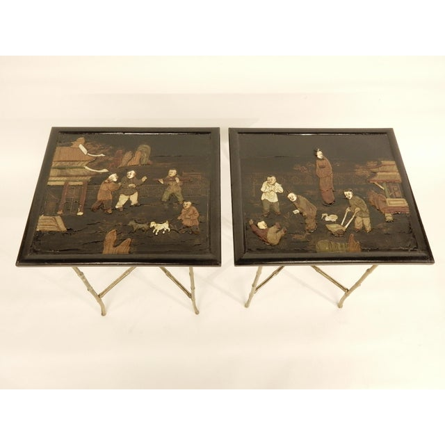 Black Pair of Bamboo Brass Base and Chinoiserie Top Side Tables For Sale - Image 8 of 8