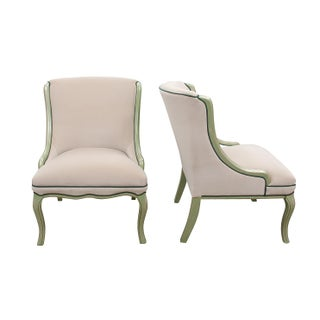 Ivory Velvet Slipper Chairs With Green Accenting - a Pair Preview
