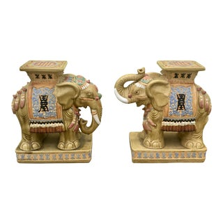 Pair of Vietnamese Glazed Ceramic Elephant Garden Stools For Sale