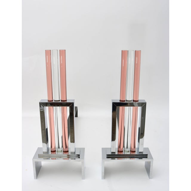 This stylish set of andirons capture the height of the Art Deco period with their architectural look of skyscrapers...